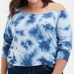 🆕 Blue Tie Dye Off-Shoulder Sweatshirt Top 2X 18